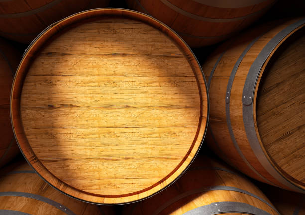 barrels of wine and Pisco in cellar 3D renderig of a close up of barrels of wine and Pisco in cellar pisco peru stock pictures, royalty-free photos & images