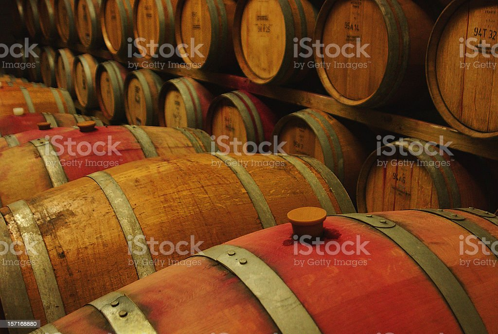 Barrels of Wine Fermenting at winery royalty-free stock photo