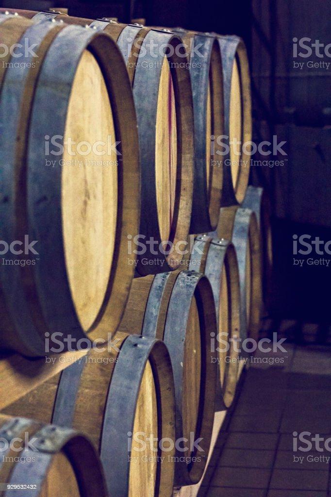 Barrels of wine. Wine Vault.