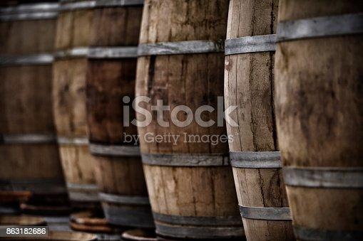 Several wood barrels of wine