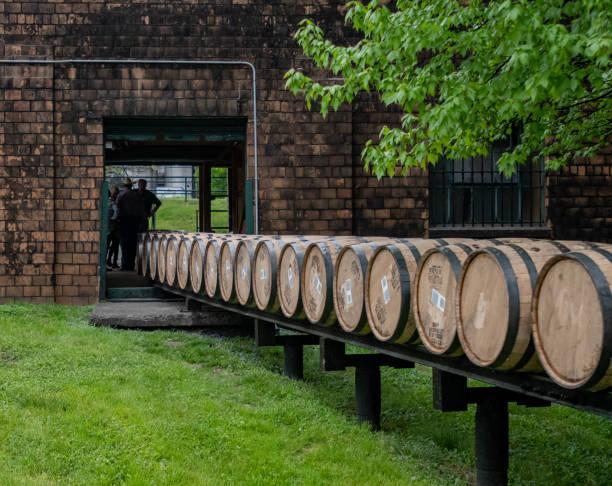 Barrels Roll Through Building stock photo