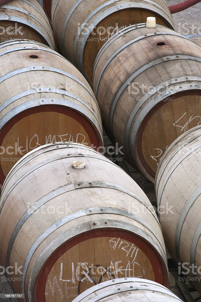 Barrels used to mature Mead stock photo