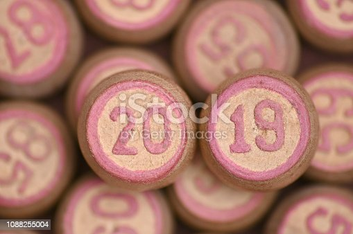 istock Barrels with digits for playing lotto.New Year 2019.Merry Christmas 1088255004