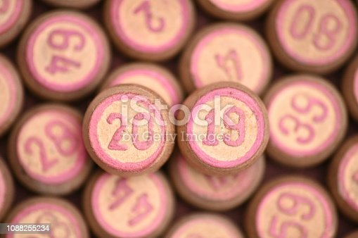 istock Barrels with digits for playing lotto.New Year 2019.Merry Christmas 1088255234