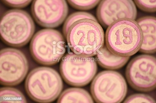 istock Barrels with digits for playing lotto.New Year 2019.Merry Christmas 1088256588