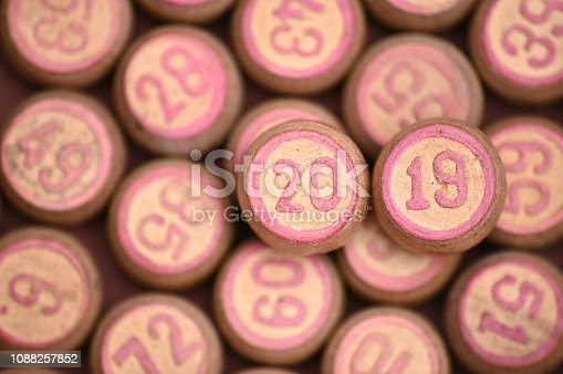 istock Barrels with digits for playing lotto.New Year 2019.Merry Christmas 1088257852