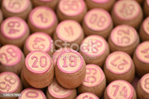 istock Barrels with digits for playing lotto.New Year 2019.Merry Christmas 1088257890