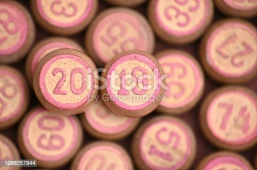 istock Barrels with digits for playing lotto.New Year 2019.Merry Christmas 1088257944