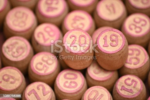 istock Barrels with digits for playing lotto.New Year 2019.Merry Christmas 1088258388
