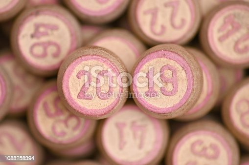 istock Barrels with digits for playing lotto.New Year 2019.Merry Christmas 1088258394