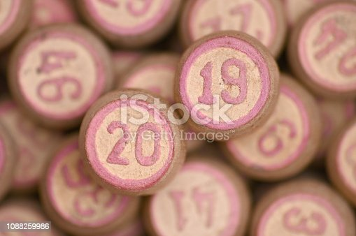 istock Barrels with digits for playing lotto.New Year 2019.Merry Christmas 1088259986
