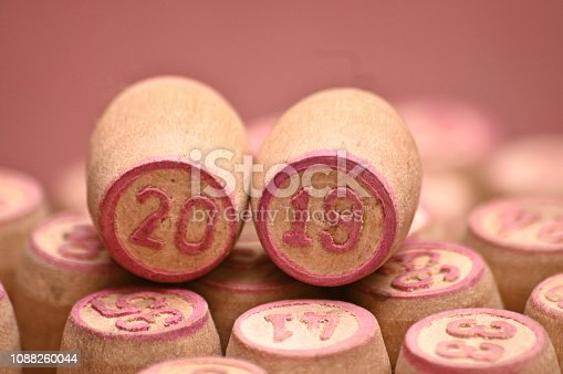 istock Barrels with digits for playing lotto.New Year 2019.Merry Christmas 1088260044