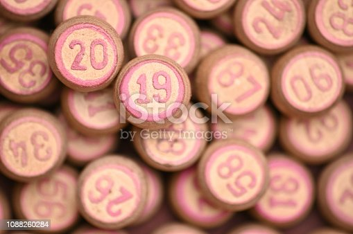 istock Barrels with digits for playing lotto.New Year 2019.Merry Christmas 1088260284