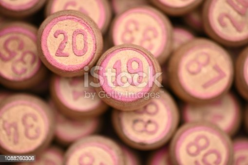 istock Barrels with digits for playing lotto.New Year 2019.Merry Christmas 1088260306