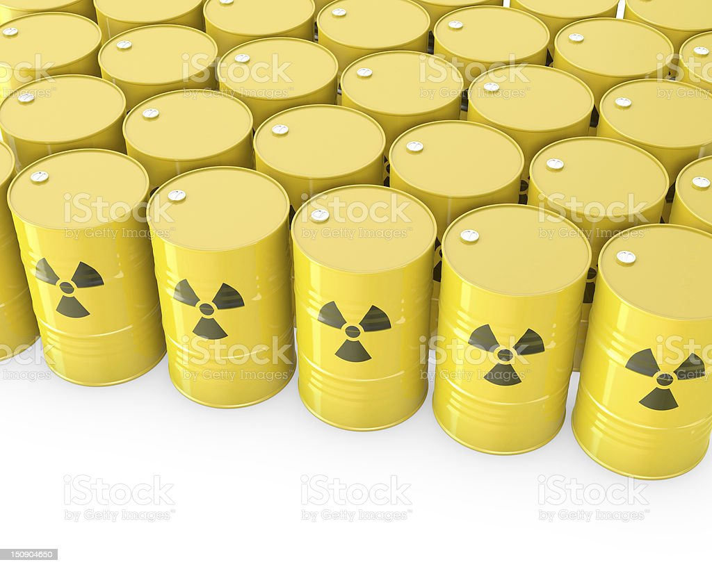 Barrels with radioactive symbol stock photo