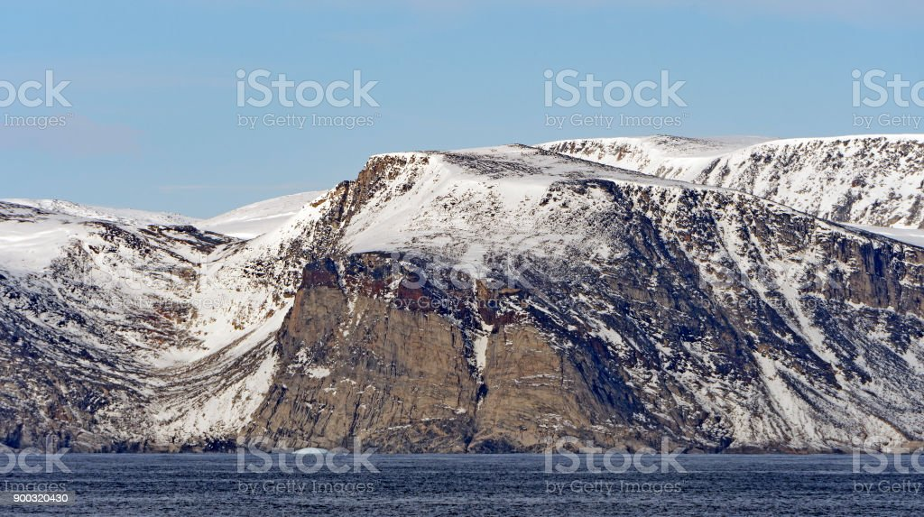 Barren Cliffs in the High Arctic stock photo