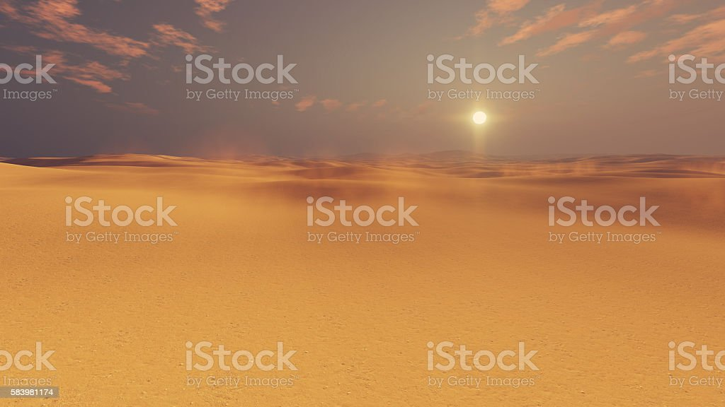 Barren desert lands at sunset stock photo
