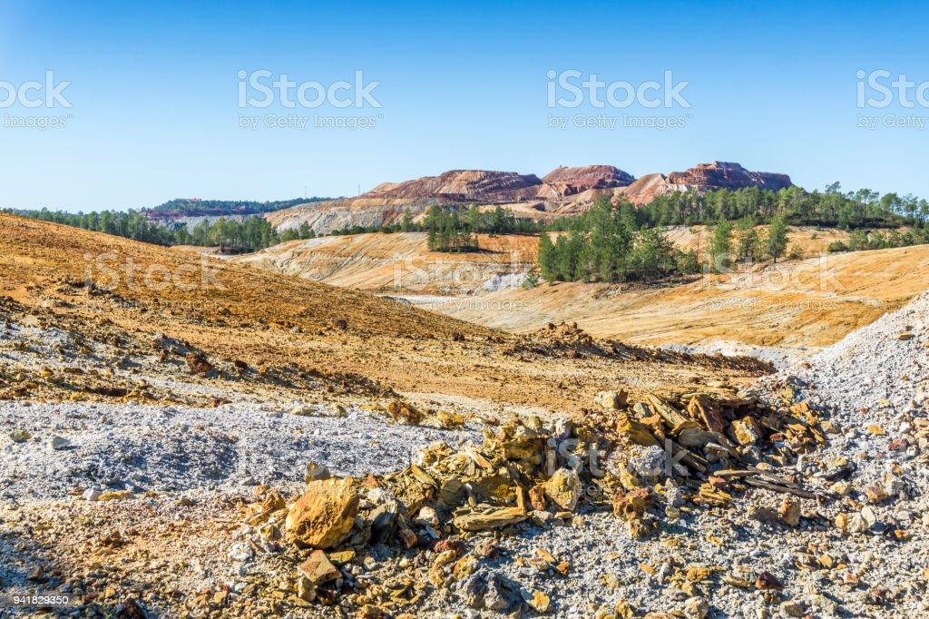Barren, industrial landscape in Minas de Riotinto, Spain stock photo