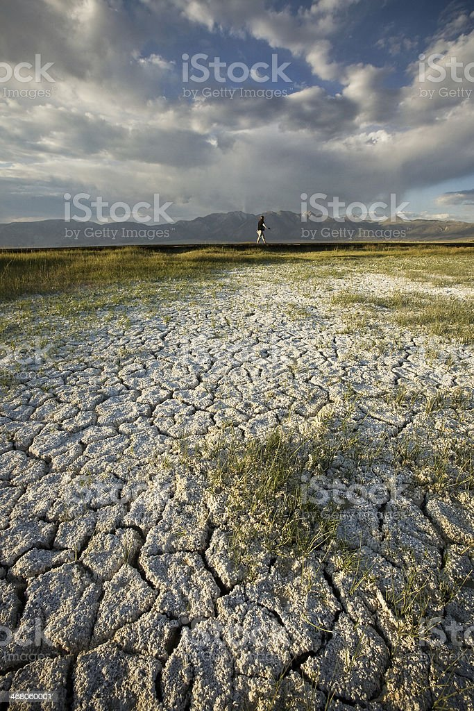 A barren landscape with little grass plagued by drought stock photo