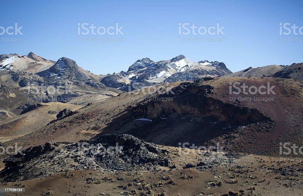 Barren plateau at 5000 m in Peru stock photo