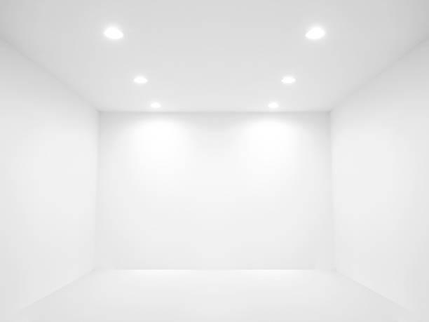 スポットライトと空白の壁 - 天井 ストックフォトと画像