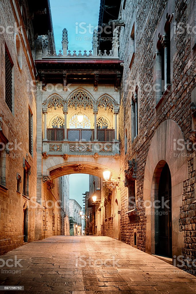 Barri Gothic Quarter and Bridge of Sighs, Barcelona. stock photo