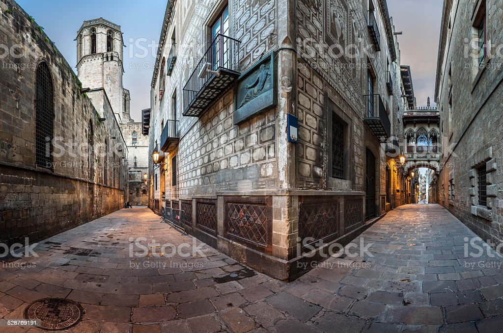 Barri Gothic Quarter and Bridge of Sighs in Barcelona, Catalonia stock photo