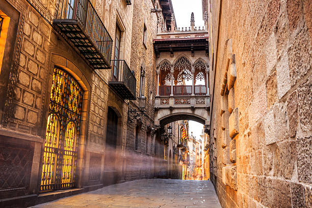 barri gotic quarter of barcelona, spain - gothic style stock pictures, royalty-free photos & images