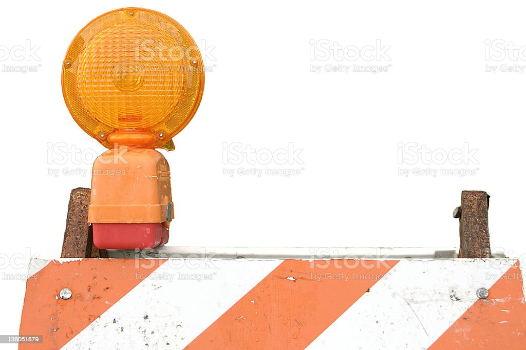 Barricade and flasher stock photo