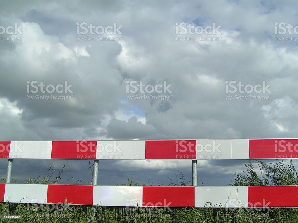barricade on a dutch cycle track royalty-free stock photo