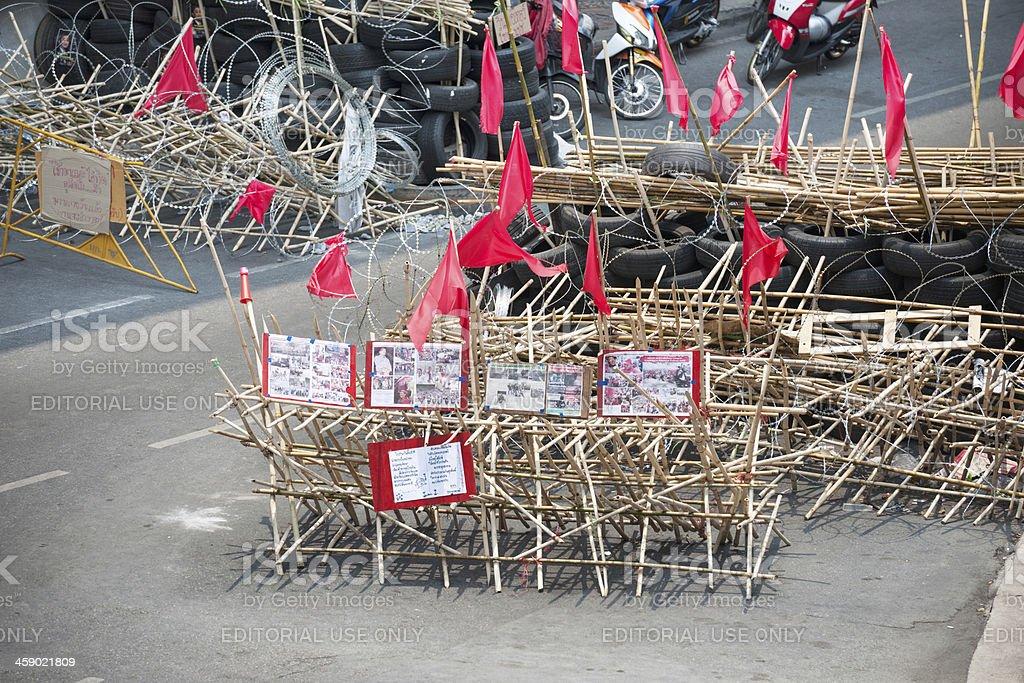 Barricade, Protests, Bangkok, Thailand royalty-free stock photo