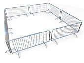 Barricaded square made of mobile steel fences 3D