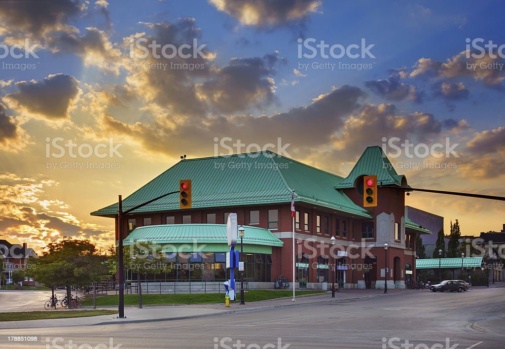 Barrie Ontario Canada Transit Terminal at Sunset stock photo
