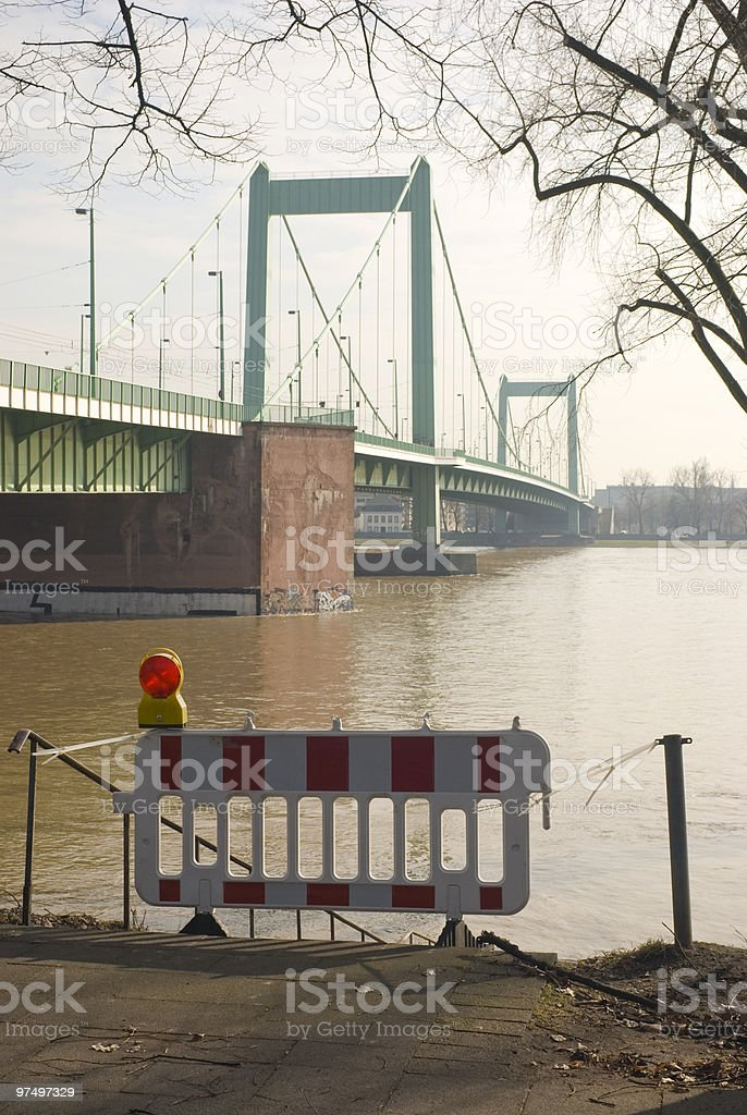 Barrier at Mülheim bridge across Rhine river in Cologne royalty-free stock photo