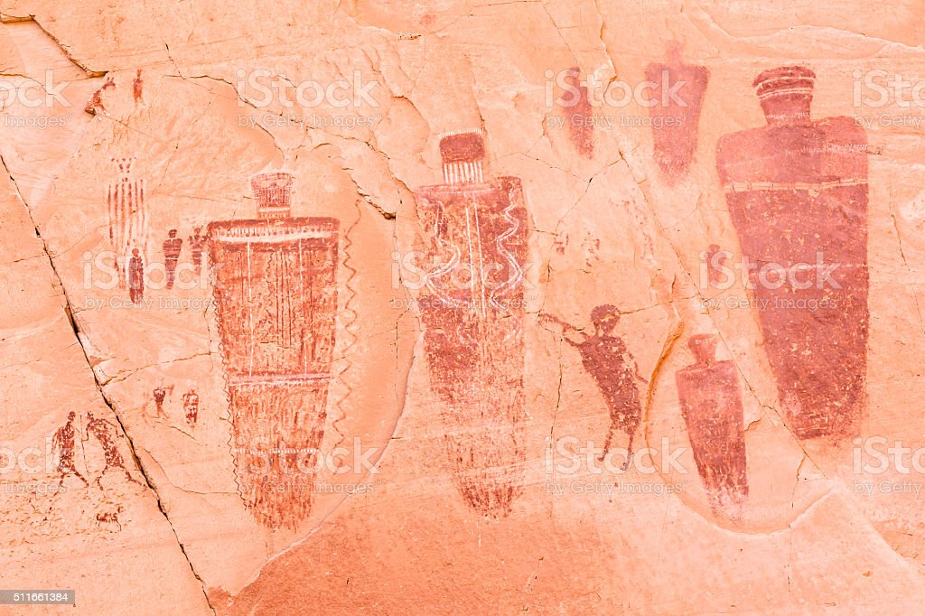 Barrier Canyon Rock Art stock photo