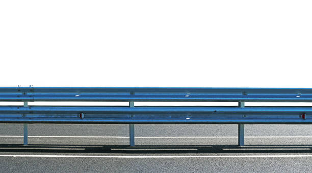 Barrier, guard rail, designed to prevent the exit of the vehicle from the curb or bridge, moving across the dividing strip. guarding rail panorama isolated on white background stock photo