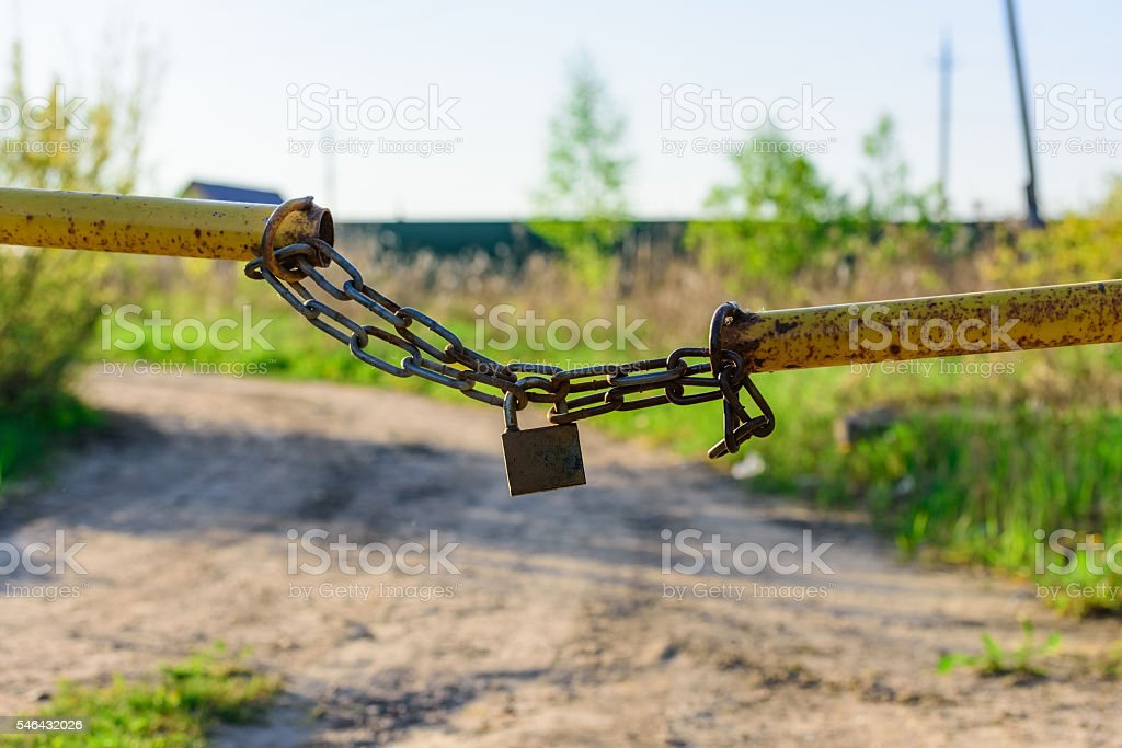 barrier lock chain stock photo