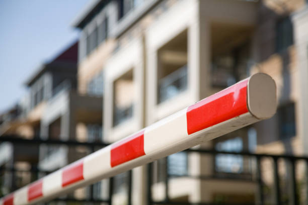 Barrier, protecting entrance to apartment stock photo