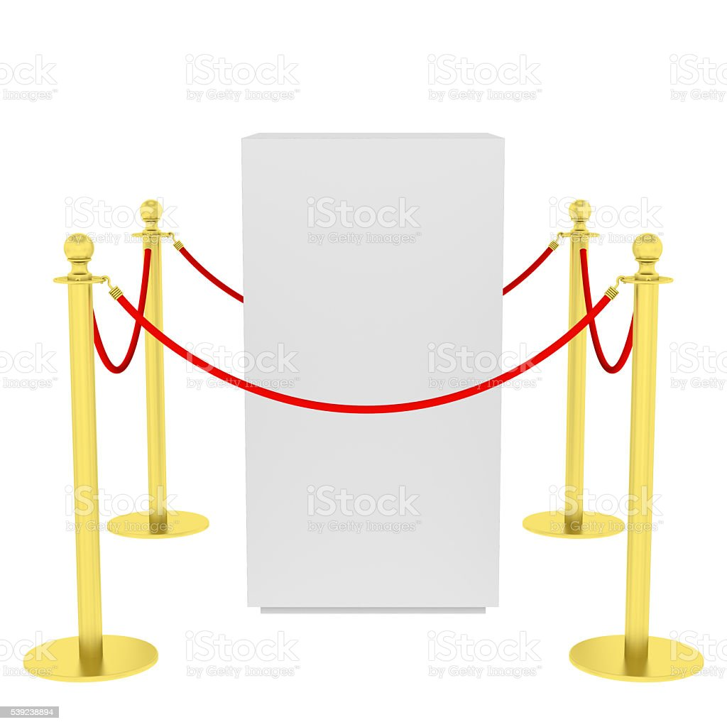 Barrier rope and box isolated on white royalty-free stock photo