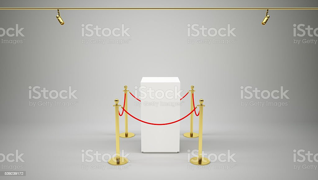Barrier rope and box on gray royalty-free stock photo