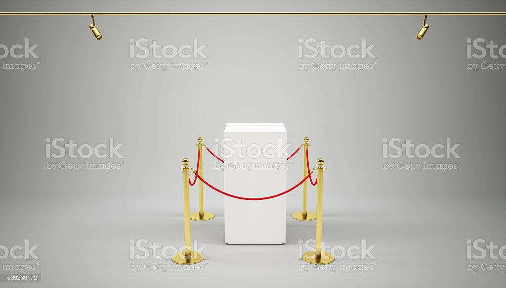 Barrera de cuerda y caja en gris foto de stock libre de derechos