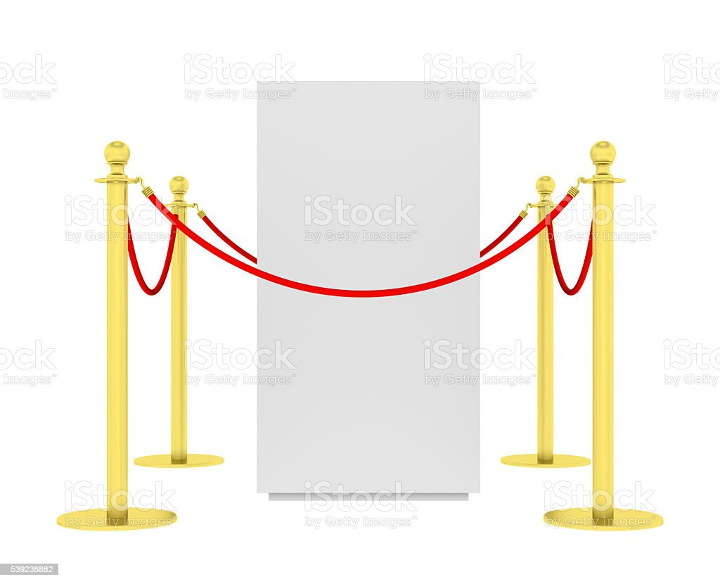 Barrier rope and red box isolated on white royalty-free stock photo