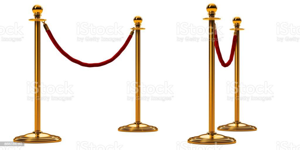 Barriere Seil isoliert auf weiss. Gold-Stock mit roten Zaun. Perspektivische Ansicht. Luxus VIP-Konzept. Ausstattung für Veranstaltungen. 3D render – Foto