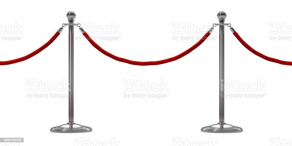Barriere Seil isoliert auf weiss. Silber. Luxus VIP-Konzept. 3D render – Foto