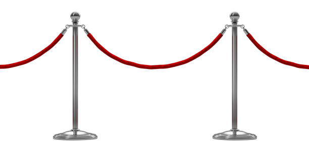 barrier rope isolated on white. silver. luxury, vip concept. 3d render - barricata foto e immagini stock