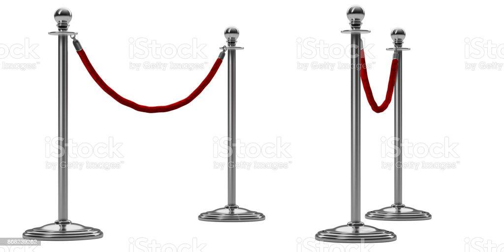 Barriere Seil isoliert auf weiss. Silber oder Chrom-Stahl-Stock mit roten Zaun. Perspektivische Ansicht. Luxus VIP-Konzept. Ausstattung für Veranstaltungen. 3D render – Foto