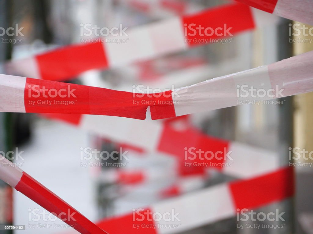 Barrier tape at building site stock photo