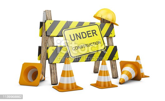 Road barrier with the words Under construction. 3d render.