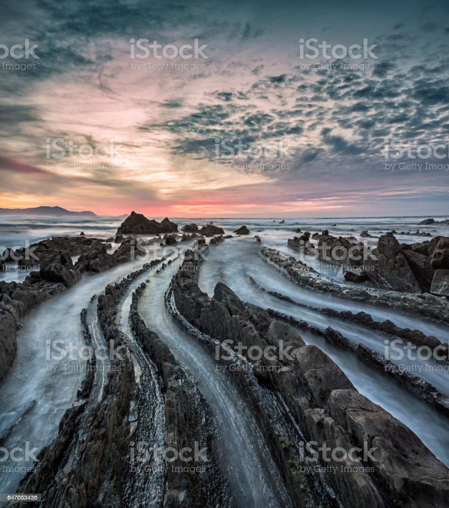 Barrika beach at sunset - Spain, Bay of Biscay stock photo