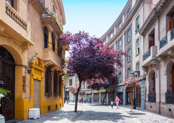 Barrio Paris-Londres in Santiago, Chile stock photo